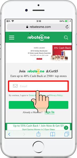 1.『RebatesMe(リベーツミー)』のWebサイトにアクセスする。「Email」をタップする。