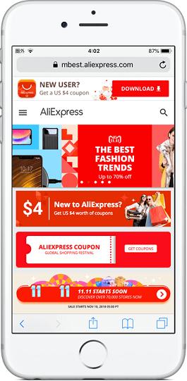 6.AliExpressのサイトが表示される。このままいつも通り買い物をすれば決済金額の8%がキャッシュバック対象になる。